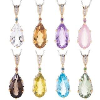 Michael Valitutti Palladium Silver Pear Shaped Gemstone Pendant (Option: Quartz)