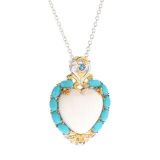 Michael Valitutti Palladium Silver White Bamboo Coral & Sleeping Beauty Turquoise Heart Pendant