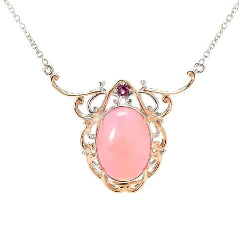 Gems en Vogue Palladium Silver Pink Peruvian Opal & Rhodolite Garnet Necklace