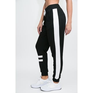 RAG Womens Active Terry Joggers - Varsity Lines With Side Color Panel