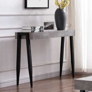 Lisson Metal Faux Cement Finish Console Table