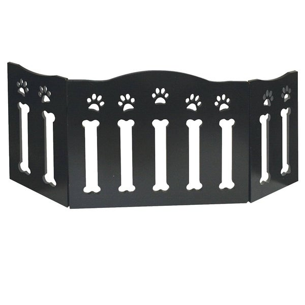 Solid Wood Folding Dog Pet Gate Wooden Gates Black