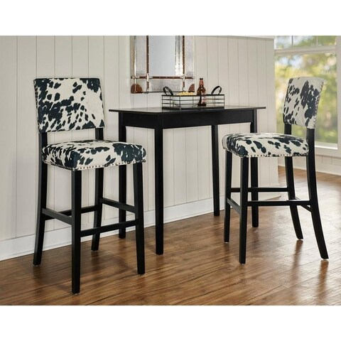 Lemont Black Cow-print Bar Stool