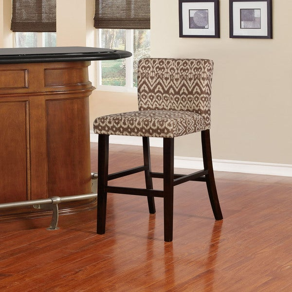 shop linon meade coconut and off white ikat bar stool free shipping today. Black Bedroom Furniture Sets. Home Design Ideas