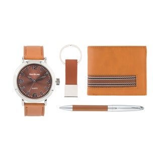 FauxLeather Watch Set with Bi-Fold Wallet,Pen, KeyChain by GINO MILANO