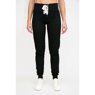 RAG Womens Fashion Terry High Waisted Lace Up Joggers