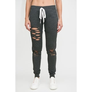 RAG Womens Fashion Terry High Waisted Wide Distressed Joggers
