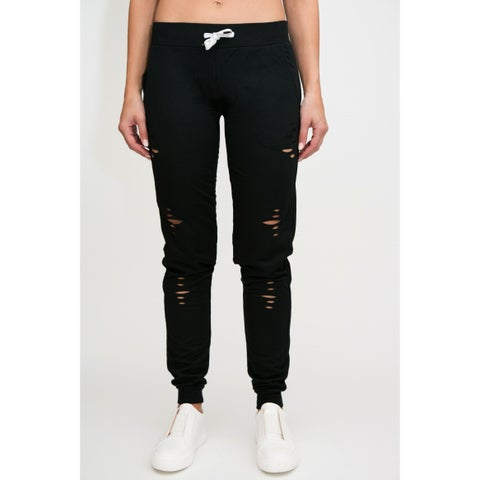 RAG Womens Fashion Terry High Waisted Distressed Joggers