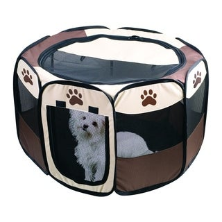 Portable Dog Pen - Outdoor & Indoor Puppy Pen - Paw Print Dog Playpen