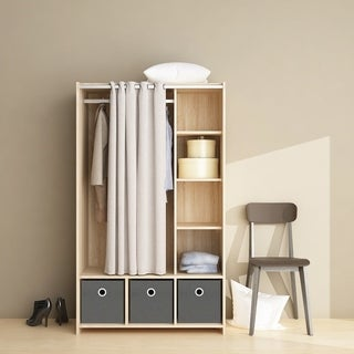 Lola Oak 3-bin Curtain Storage Center