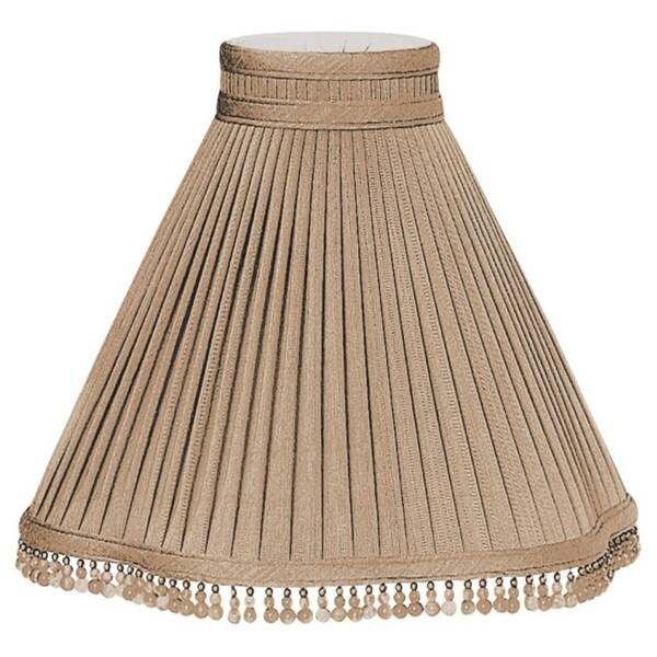 Royal Designs Pleated Scallop Empire with Beaded Trim and Top Gallery Designer Lamp Shade, Antique Gold, 4 x 12 x 10