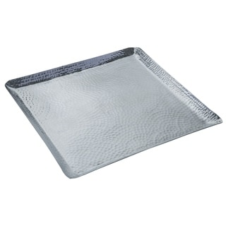 "18x18x1"" Square Hammered Aluminum Tray"
