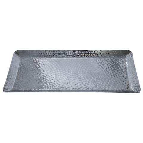 "18x8x1"" Rectangular Hammered Aluminum Tray"