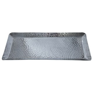 "18x8x1"" Rectangular Hammered Aluminum Tray"