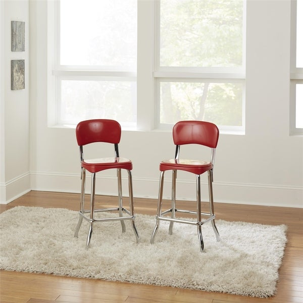 COSCO Red Retro Chrome 2pc High Top Chairs