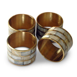 Boxed set of Mother of Pearl Napkin Rings Set of 4