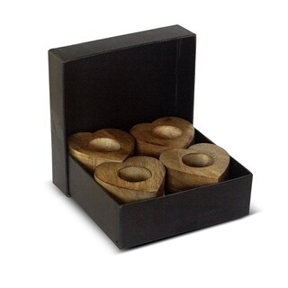Boxed set of 8 Heart Shaped Wooden Napkin Rings