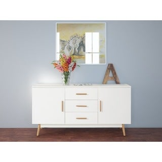 Texas White Finish Solid Oak Legs 3-drawer Sideboard