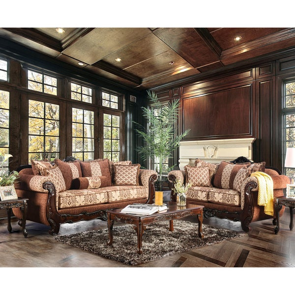 Furniture Of America Leticia Traditional 2 Piece Brown Damask Sofa Set