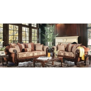 Furniture of America Leticia Traditional 2-piece Brown Damask Sofa Set