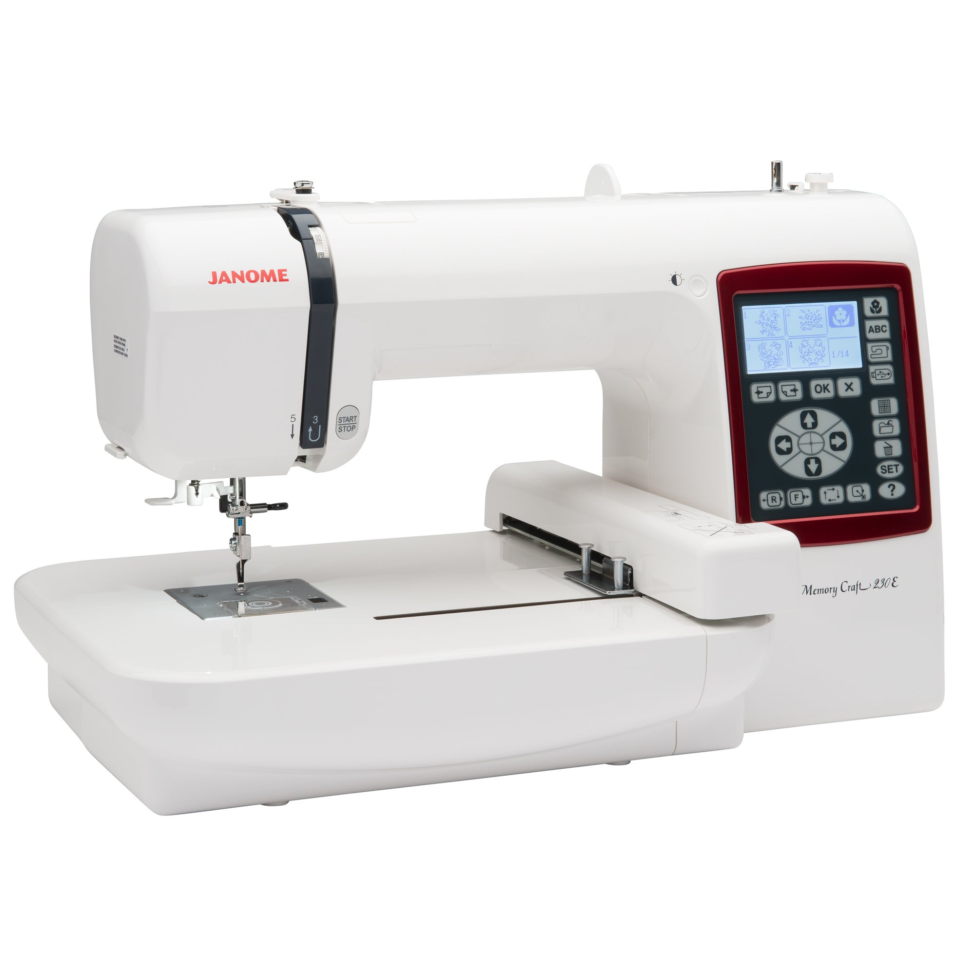 Janome 230e Embroidery Only Sewing Machine (White) (Alumi...
