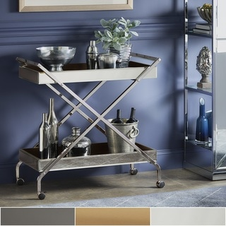 Zeke Contemporary Mirrored Metal Bar Cart by iNSPIRE Q Bold
