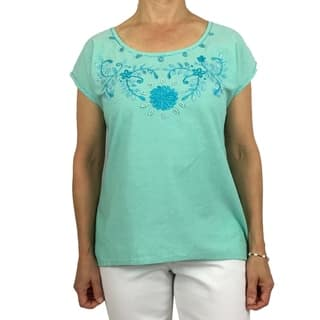 Handmade cotton blouse with floral hand-embroidered details. Produced by traditional artisans in Oaxaca, Mexico. Fairly traded.|https://ak1.ostkcdn.com/images/products/18213134/P24355618.jpg?impolicy=medium