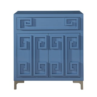 Contemporary Blue High-gloss Two-door Accent Wine Cabinet