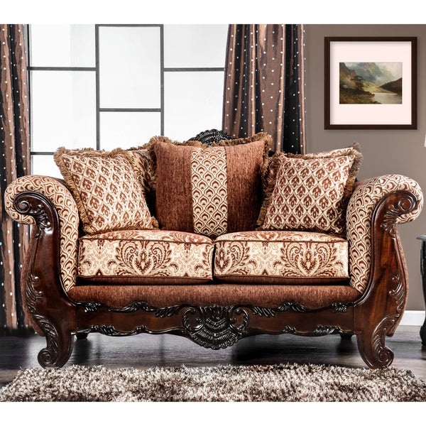 Merveilleux Furniture Of America Leticia Traditional Brown Damask Loveseat