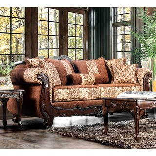 Furniture of America Leticia Traditional Brown Damask Sofa