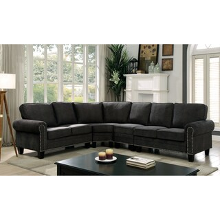 Furniture of America Jaylin Transitional Dark Grey Upholstered Sectional