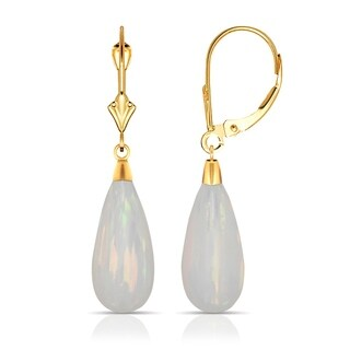 14K Yellow Gold Tear-drop Colors of Created Opal Dangle Leverback Earrings (8mmx40mm)