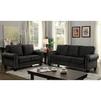 Furniture of America Jaylin 2-piece Dark Grey Upholstered Sofa Set