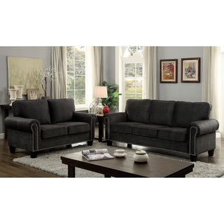 Furniture of America Jaylin Transitional 3-piece Dark Grey Upholstered Sofa Set