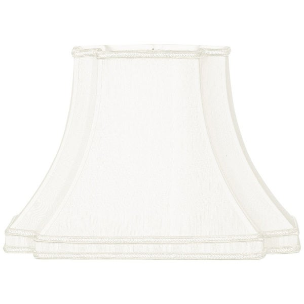 Royal Designs Rectangle Bell with Bottom Gallery Inverted Corner Designer Lamp Shade, White, (7 x 9.5) x (10 x 18) x 12