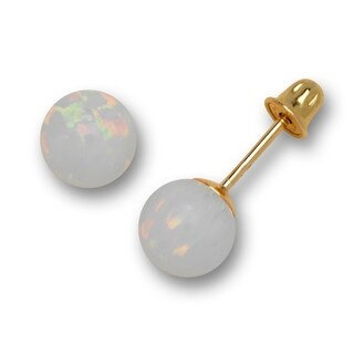 14K Yellow Gold Colors of Created Opal 6mm Ball Post Stud Screw-back Earrings (More options available)