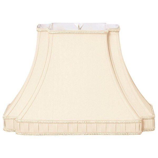 Royal Designs Rectangle Bell with Bottom Gallery Inverted Corner Designer Lamp Shade, Eggshell, (6 x 8.5) x (9 x 16) x 11