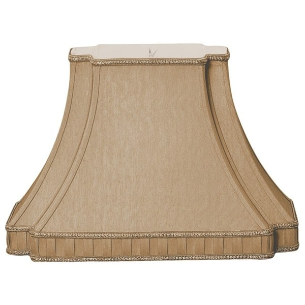 Royal Designs Rectangle Bell with Bottom Gallery Inverted Corner Designer Lamp Shade, Antique Gold, (6 x 8.5) x (9 x 16) x 11
