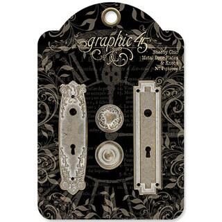 Staples Metal Door Plates W/Knobs 2 Sets