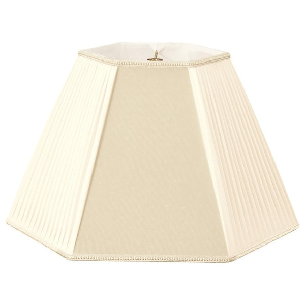 Royal Designs Beige/Eggshell Pleated Hexagon Designer Lamp Shade, Beige/Eggshell, 8 x 16 x 12