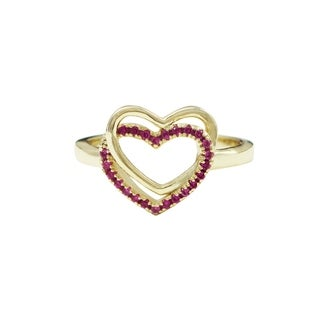 Luxiro Sterling Silver Gold Finsh Lab-created Ruby Gemstones Double Heart Ring (4 options available)