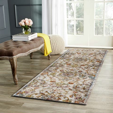 "LR Home Gala Old World Victorian Green Multi Polypropylene Rug - 2'3"" x 8'9"""