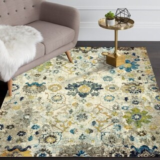 LR Home Gala Distressed Beige Multi Indoor Accent Rug - 4' x 6'