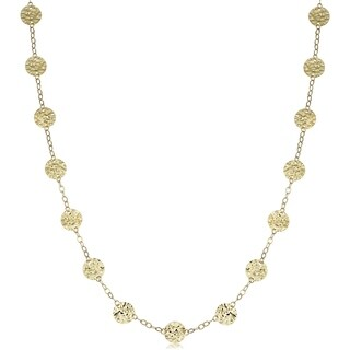 Fremada 14k Yellow Gold Hammered Disc Station Necklace (20 or 36 inches)