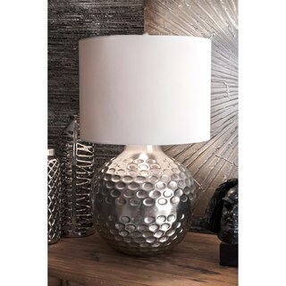 Watch Hill 26-inch Cora Hammered Iron Cotton Shade Table Lamp - Silver
