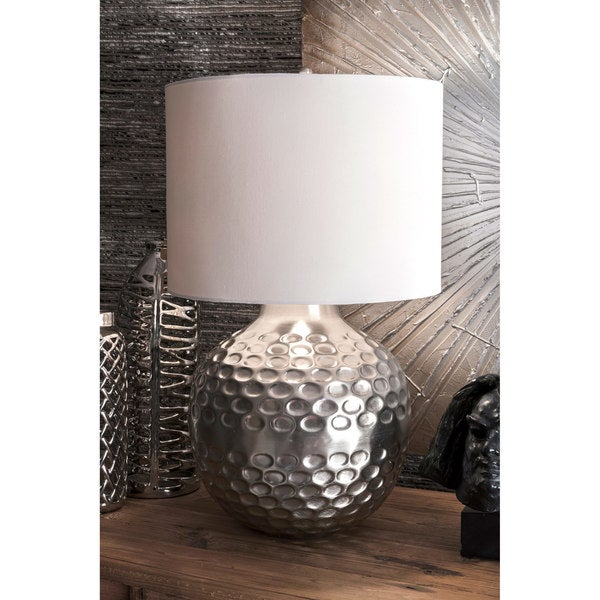 Watch Hill 26-inch Cora Hammered Iron Cotton Shade Table Lamp