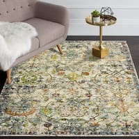 LR Home Gala Old World Victorian Green Multi Polypropylene Rug - 5' x 8'