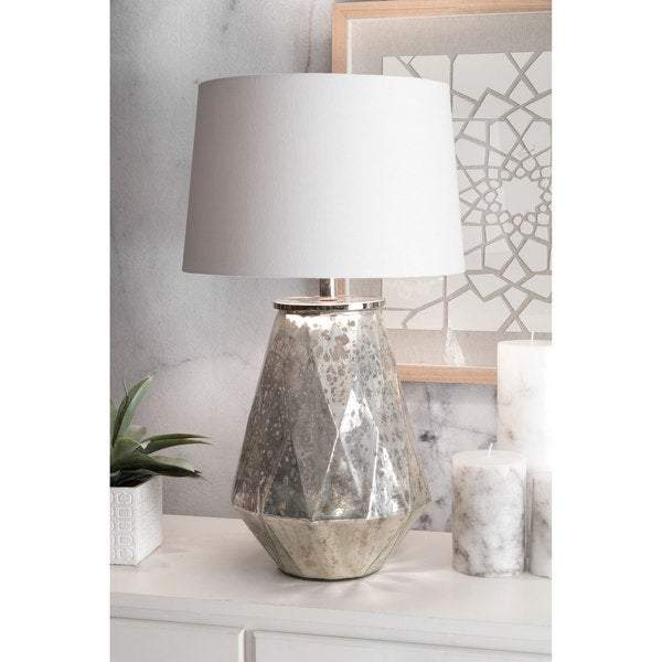 Watch Hill 27-inch Katherine Mercury Glass Iron Cotton Shade Table Lamp