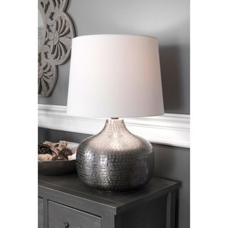 Watch Hill 21-inch Faith Hammered Aluminum Cotton Shade Table Lamp