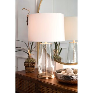 Watch Hill 21-inch Alice Glass Iron Cotton Shade Table Lamp